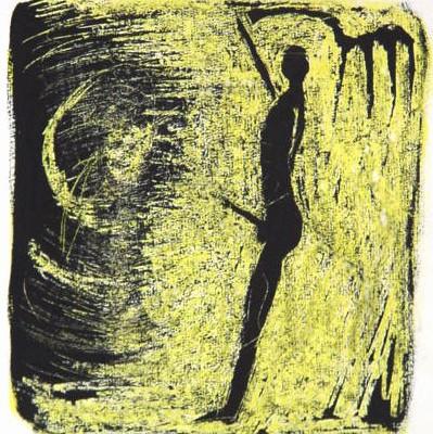 Mondmensch<br /> Jahr: 2000<br /> Material: Schabtechnik<br /> Größe: Blatt 35 x 027 cm