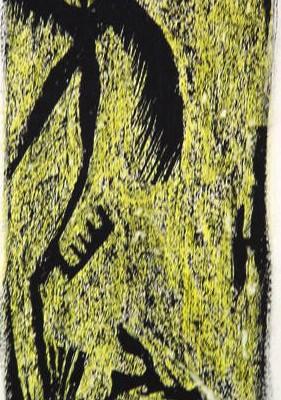 Engel<br /> Jahr: 1999<br /> Material: Schabtechnik<br /> Größe: Blatt 38 x 25 cm