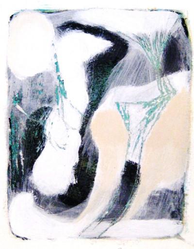 Aufbruch<br /> Jahr: 2010<br /> Material: Grattage/Acryl<br /> Größe: 35 x 27 cm