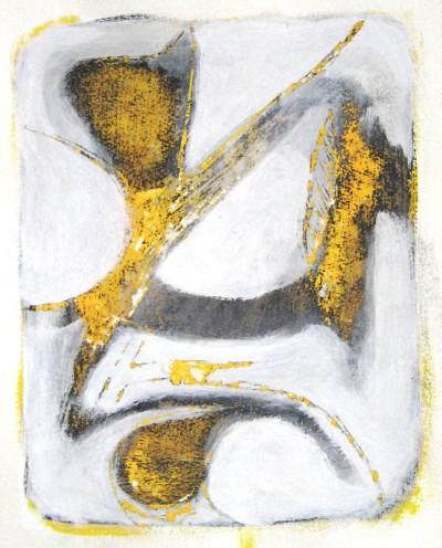 in Bedrängnis<br /> Jahr: 2010<br /> Material: Grattage<br /> Größe: 35 x 27 cm