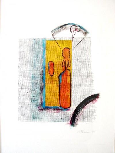 mit Schirm<br /> Jahr: 1995<br /> Material: Mischtechnik<br /> Größe: 38 x 27 cm