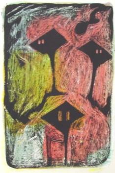 Baumhaus<br /> Jahr: 2003<br /> Material: Acryl, Schellack<br /> Größe: Blatt 38 x 27 cm