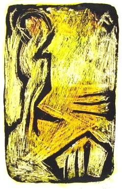 Bedeutung<br /> Jahr: 2003<br /> Material: Grattage<br /> Größe: 38 x 27 cm