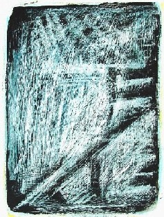 Brücke<br /> Jahr: 2003<br /> Material: Grattage<br /> Größe: 38 x 27 cm