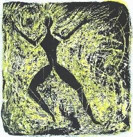 Schamanin<br /> Jahr: 1999<br /> Material: Schabtechnik<br /> Größe: Blatt 38 x 27 cm